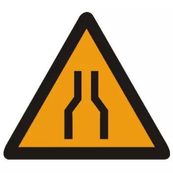 车行道两侧变窄主要指沿道路中心线对城缩窄的道路;此标志图片